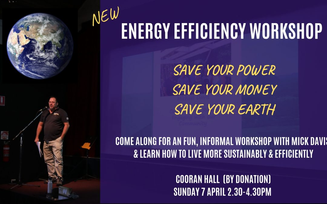 SUN 7 APRIL 2.30-4.30PM Energy Efficiency Workshop