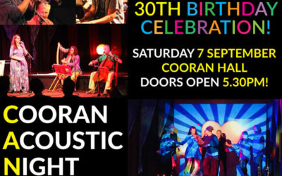 7 SEPTEMBER 2019, 6PM – Cooran Acoustic Night Turns 30 (doors open 5.30pm)